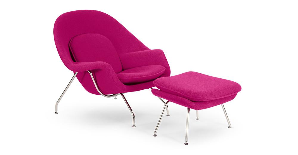 Womb Chair & Ottoman, Pom Fusion
