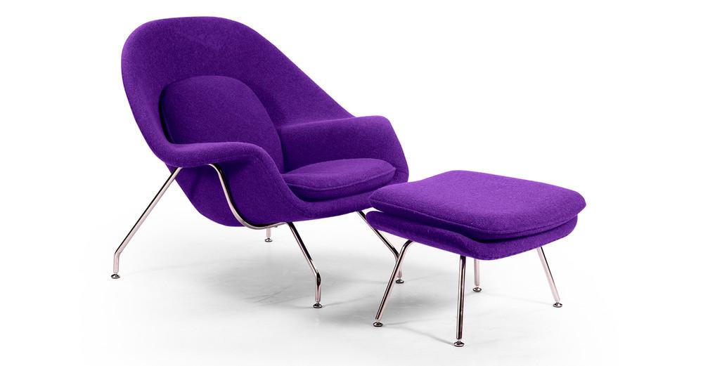 Womb Chair & Ottoman, Purple