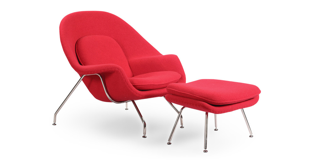 Womb Chair & Ottoman, Red