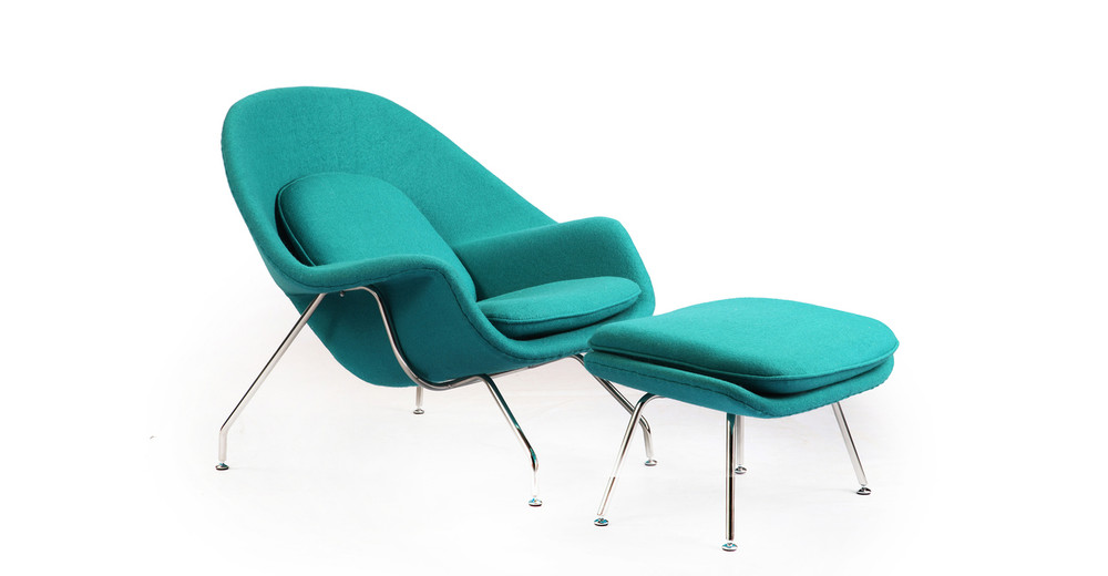 Womb Chair & Ottoman, Turquoise