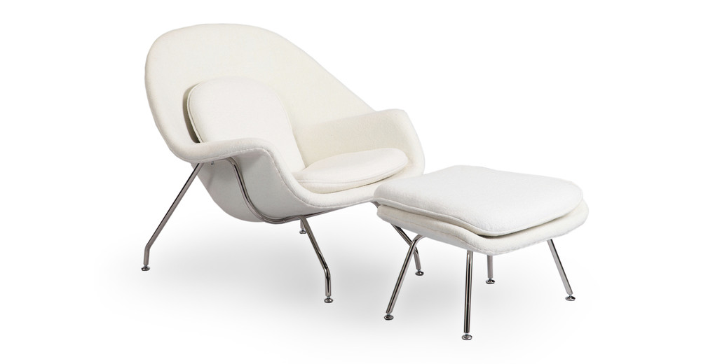 Womb Chair & Ottoman, White