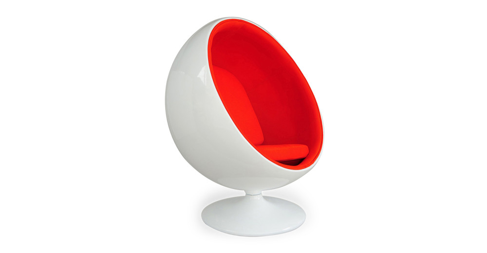 Ball Chair, White/Orange