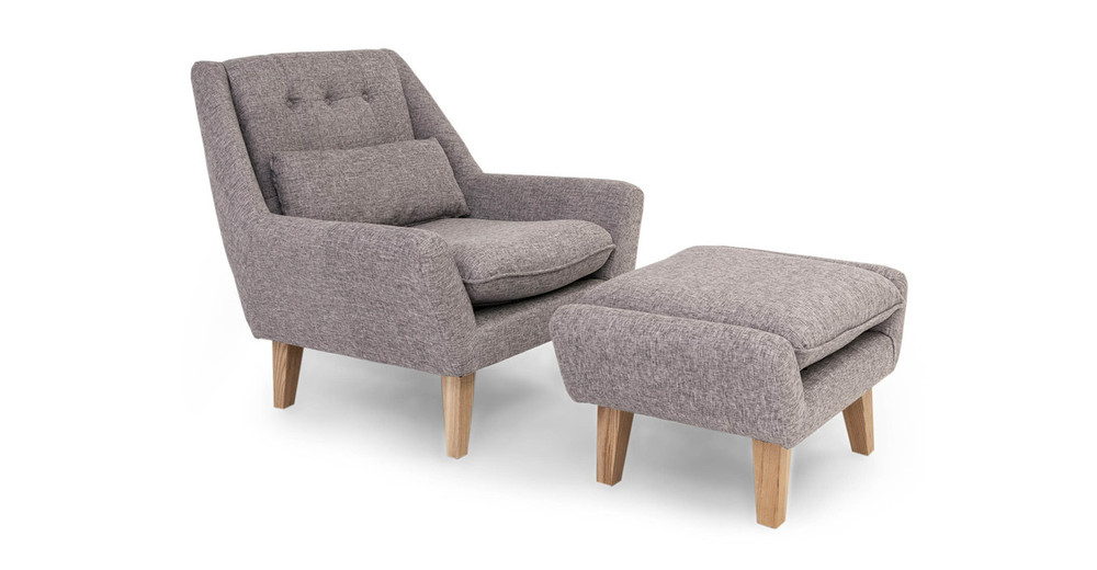Stuart Chair & Ottoman, Deco Grey