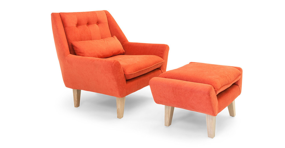 Kardiel stuart chair and ottoman