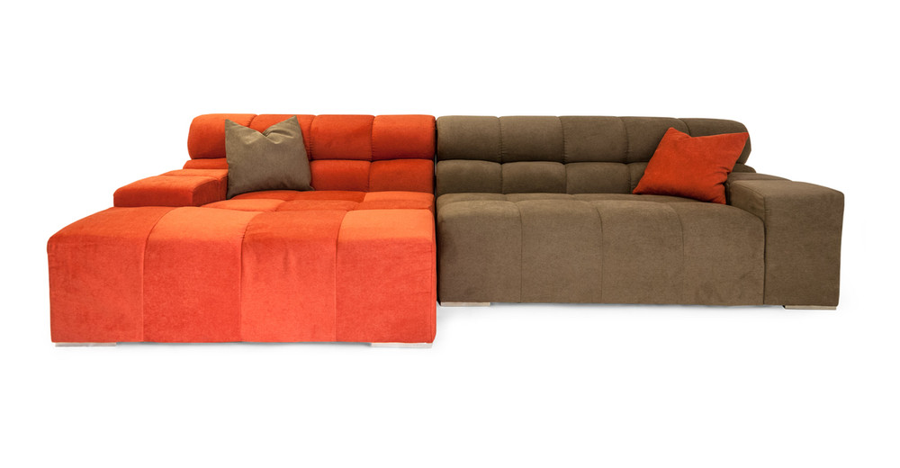 Cubix Sofa Sectional Left, Plush Coral/Mushroom