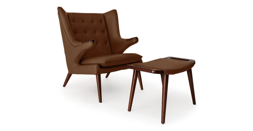 Papa Bear Chair & Ottoman, Coco Brown Premium Leather