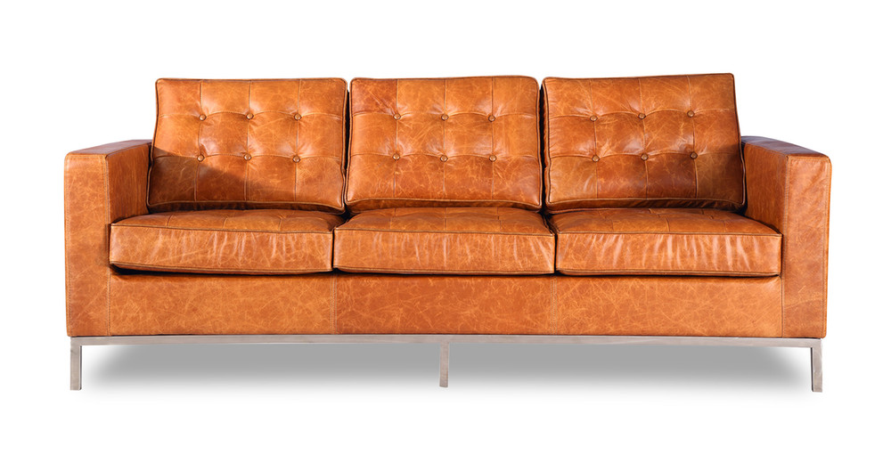 Florence Sofa, Vintage Tan Premium Distressed Leather
