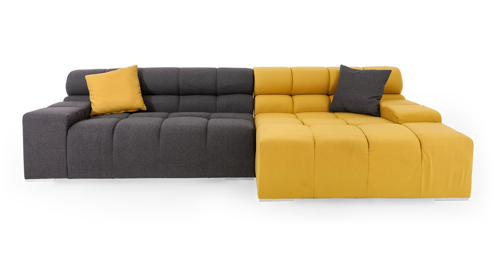 Cubix Sofa Sectional Right, Arylide/Charcoal