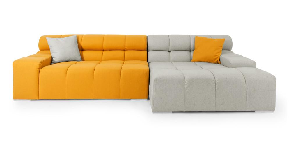 Cubix Sofa Sectional Right, Heather/Sunrise
