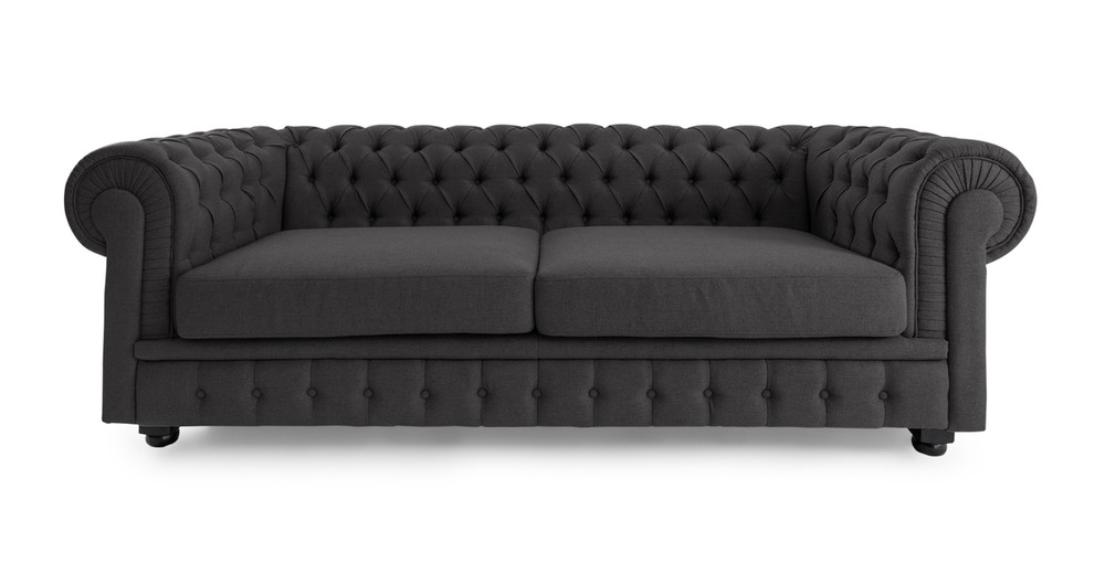 Chesterfield Sofa, Chevron Grey Twill