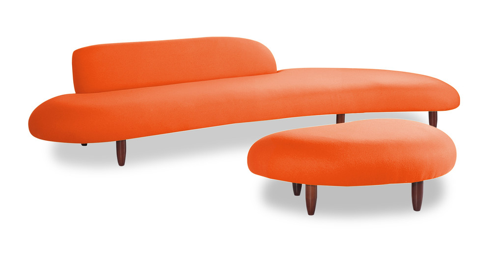 kidney bean sofa ottoman orange - Chaise Orange