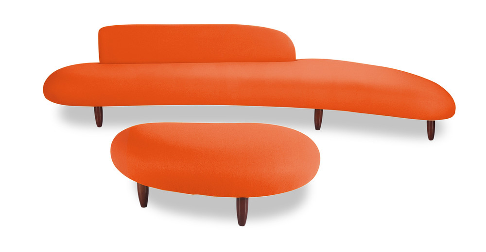 Kidney Bean Sofa & Ottoman, Orange