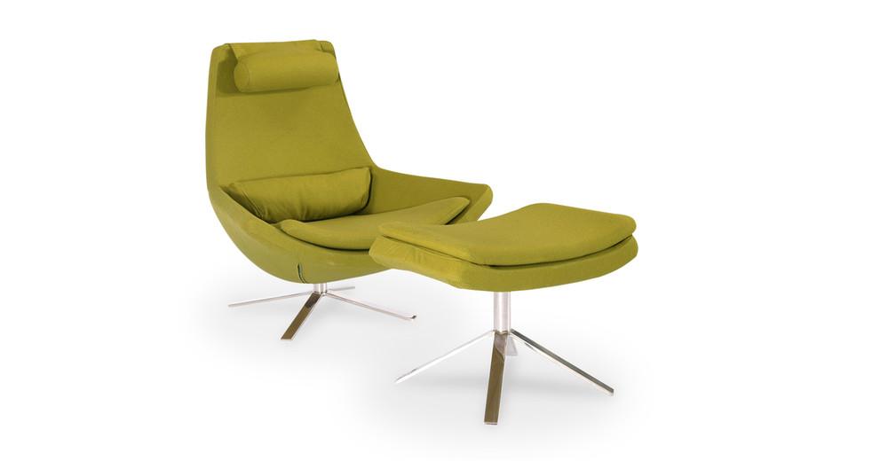 Retropolitan Chair & Ottoman, Deco Moss