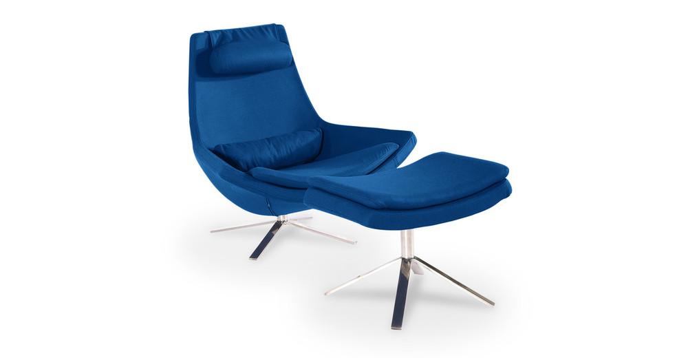 Retropolitan Chair & Ottoman, Sapphire