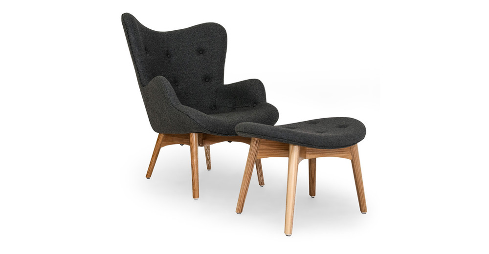 Contour Chair & Ottoman, Charcoal