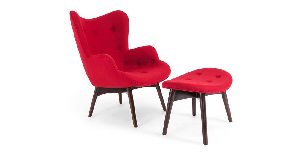 Contour Chair & Ottoman, Carnelian