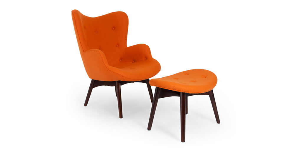 Contour Chair & Ottoman, Carrot