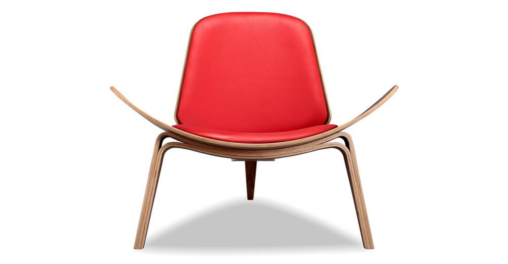 Tripod Chair, Red Italian Leather/Walnut