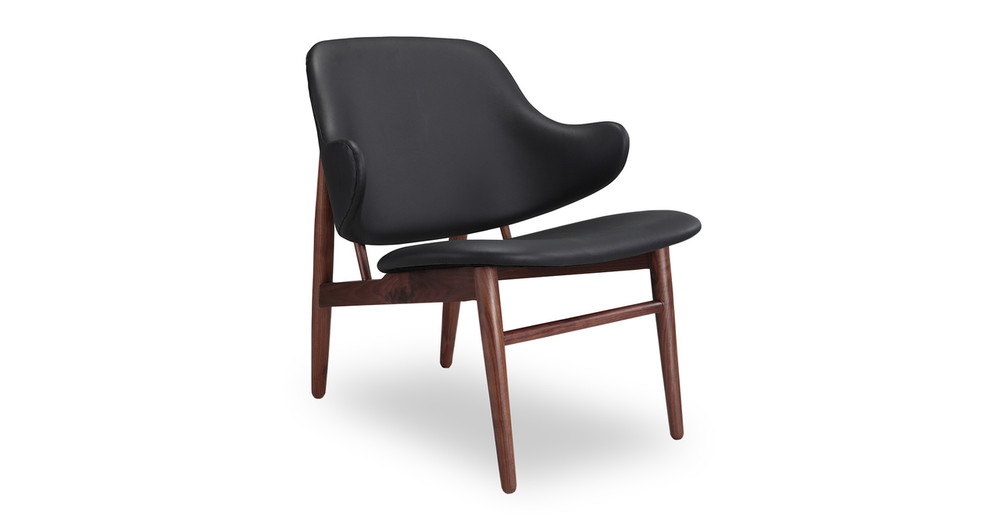 Larsen Shell Chair, Black Italian Leather/Walnut