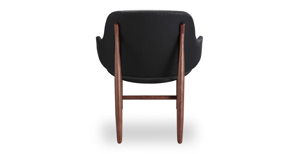 Larsen Shell Chair Black Italian Leather Walnut Kardiel