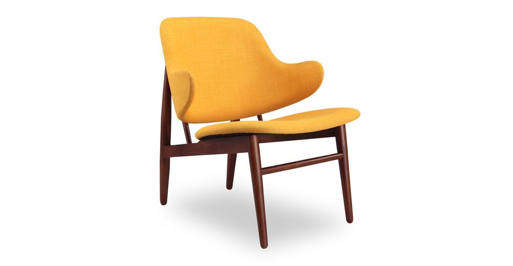 Larsen Shell Chair, Citrine/Walnut Stain