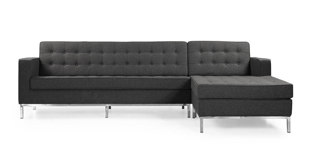 Florence Bi-Sectional, Charcoal Grey