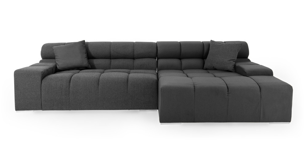 Cubix Sofa Sectional Right, Charcoal
