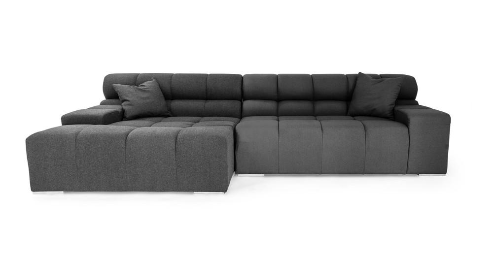 Cubix Sofa Sectional Left, Charcoal