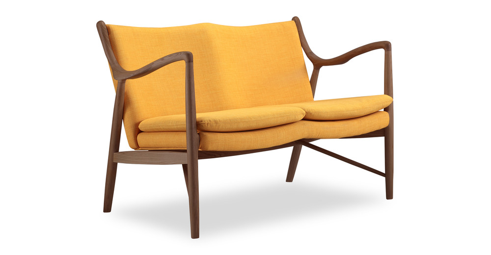 Copenhagen 45 Loveseat, Citrine/Walnut