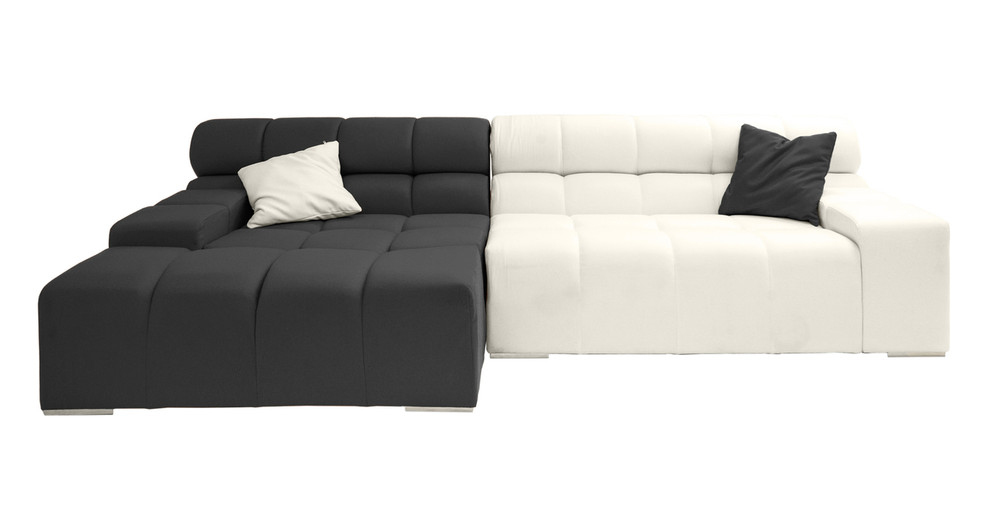 Cubix Sofa Sectional Left, Charcoal/Chalk White