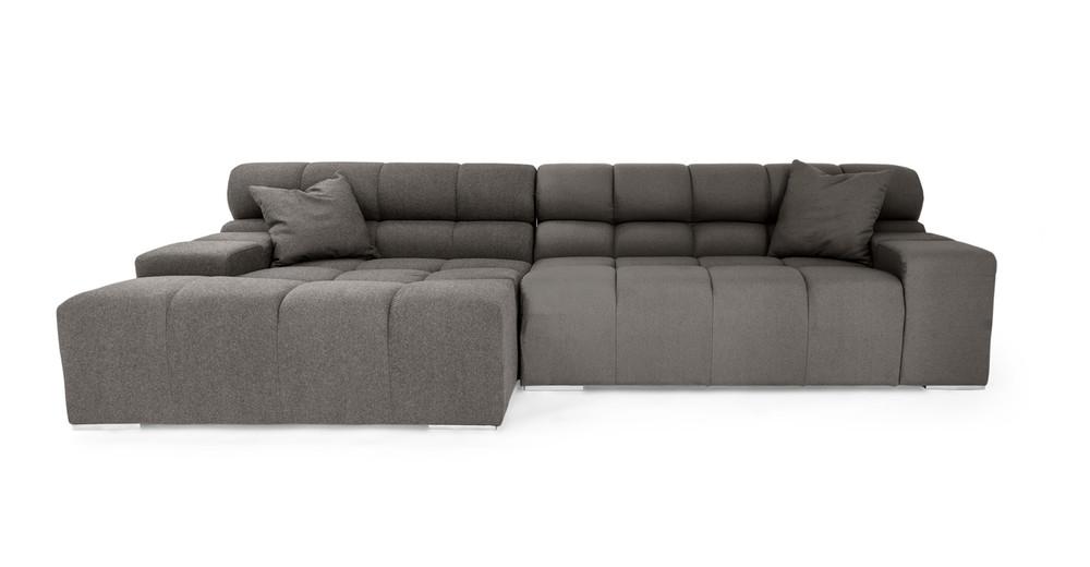 Cubix Sofa Sectional Left, Cadet Grey