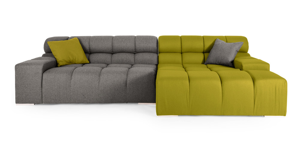 Cubix Sofa Sectional Right, Deco Moss/Cadet Grey