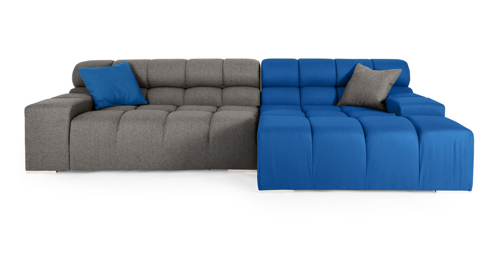 Cubix Sofa Sectional Right, Sapphire/Cadet Grey