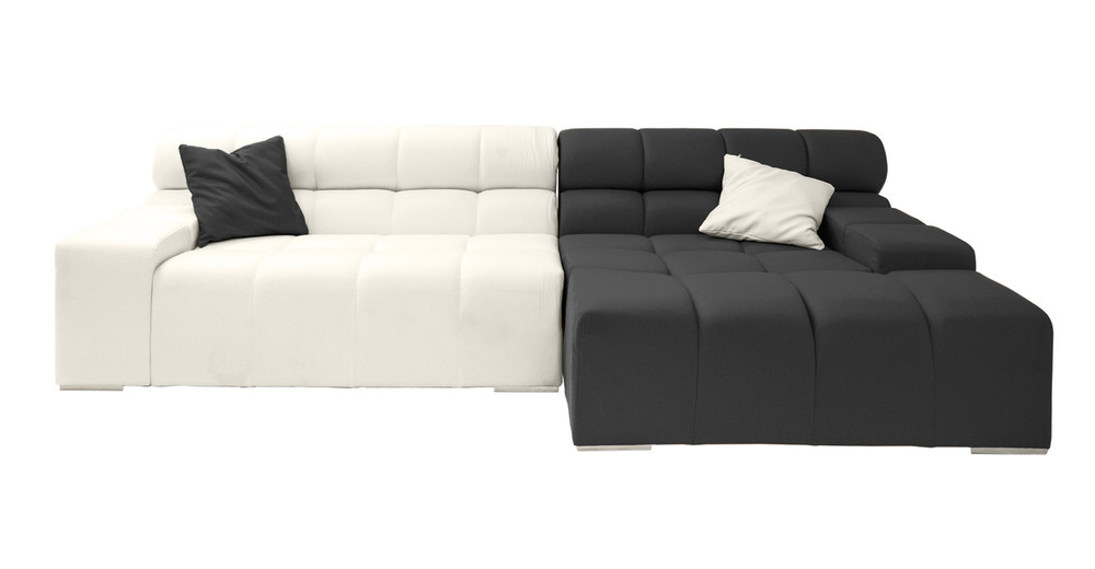 Cubix Sofa Sectional Right, Charcoal/Chalk White