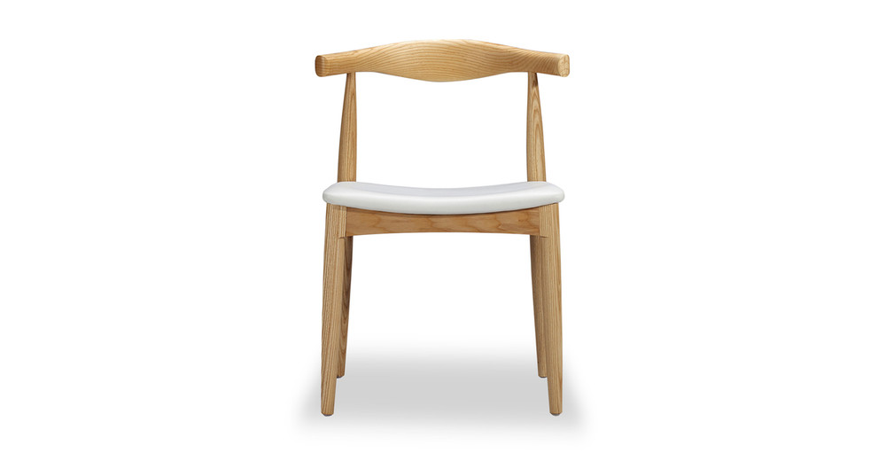 Wegner Elbow Chair, White Leather/Ash Natural