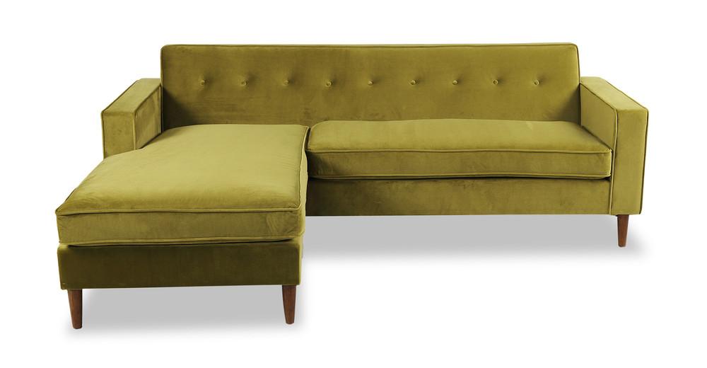 Eleanor Bi-Sectional Sofa, Olive Velvet