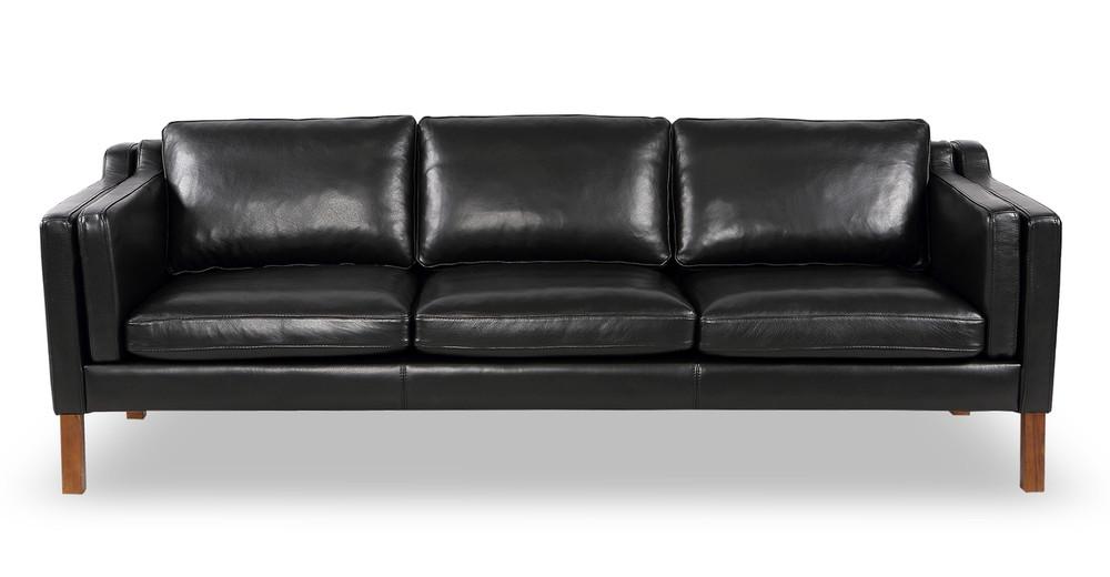Monroe Sofa, Black Aniline Leather