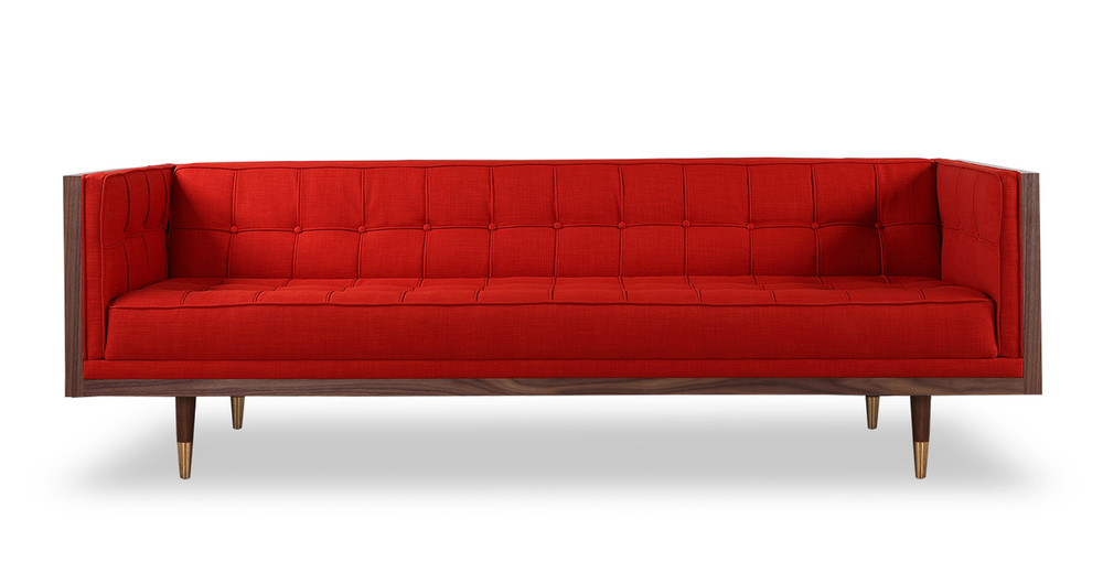 Woodrow Box Sofa, Walnut/Scarlet
