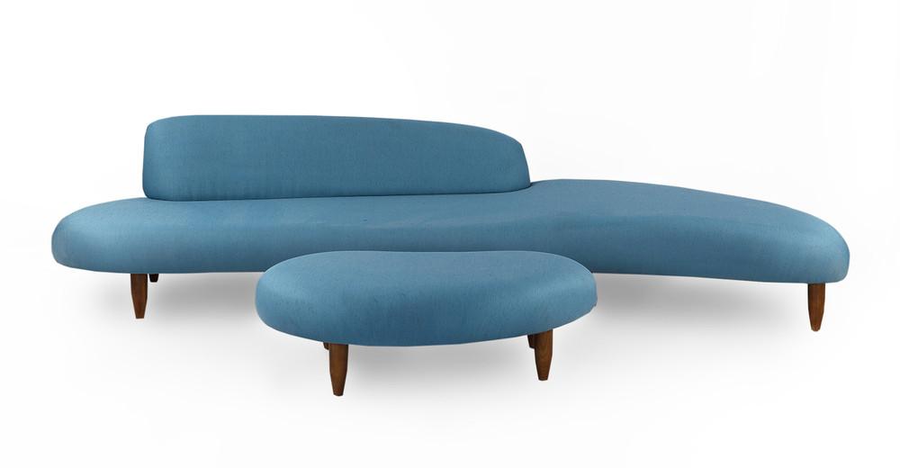 Kidney Bean Sofa & Ottoman, Urban Surf
