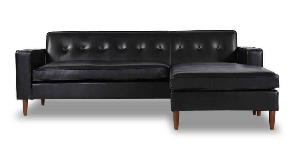 Eleanor Sofa Sectional-Right Chaise, Black Aniline Leather
