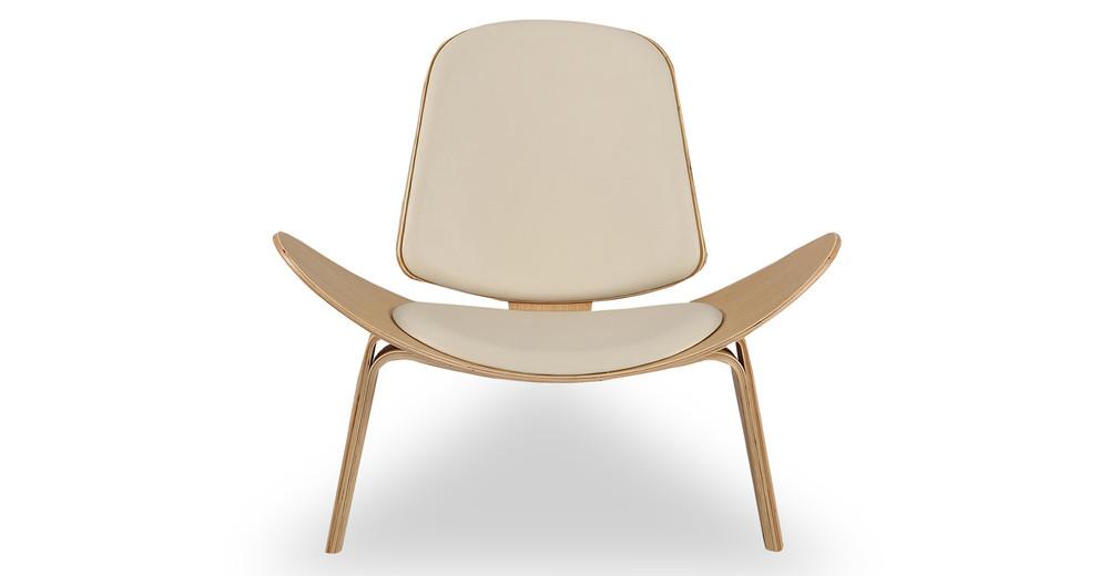 Tripod Chair, Cream Italian Leather/Oak
