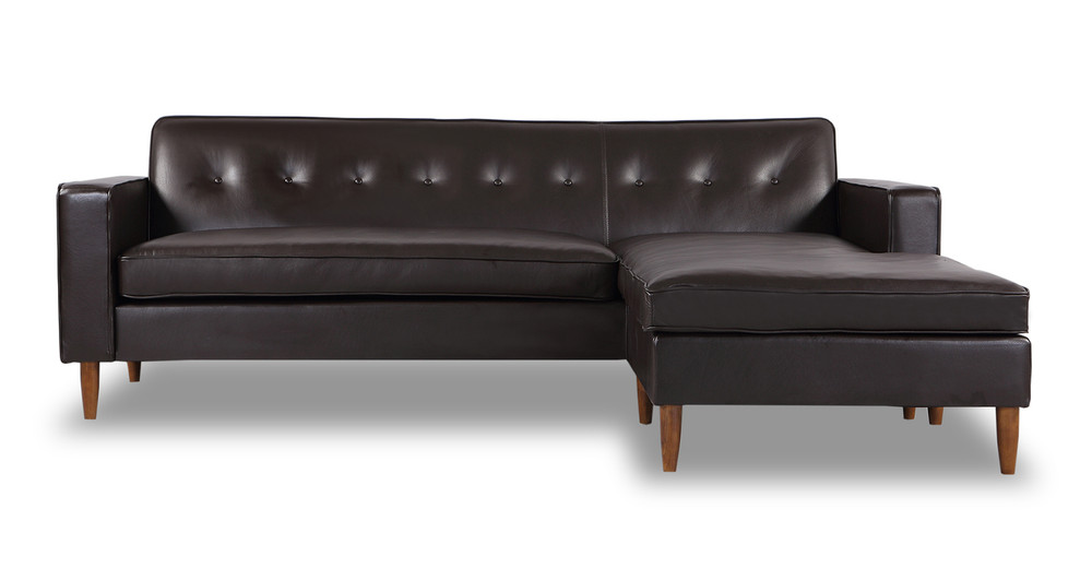 Eleanor Sofa Sectional-Right Chaise, Brown Aniline Leather