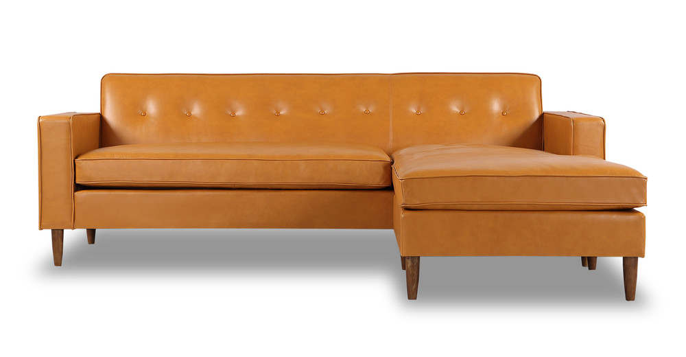 Eleanor Sofa Sectional-Right Chaise, Tan Aniline Leather