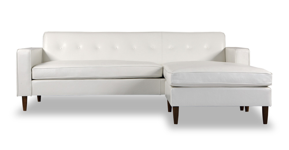 Eleanor Sofa Sectional-Right Chaise, White Aniline Leather