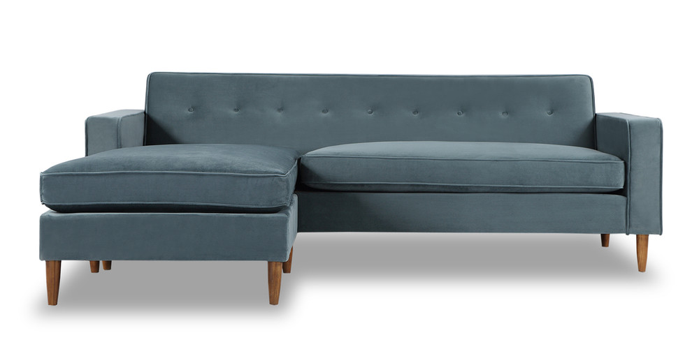 Eleanor Bi-Sectional Sofa, Neptune Velvet