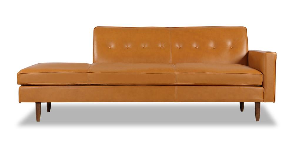 Eleanor Sofa Right, Tan Premium Leather