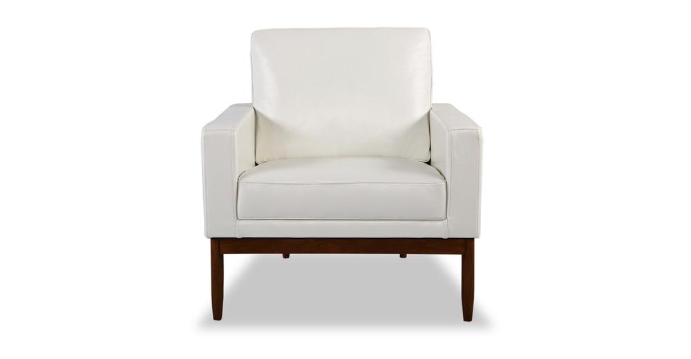 Stilt Danish Mod Chair, White Aniline Leather/Walnut