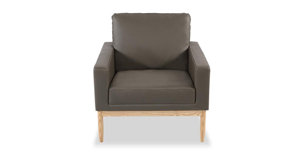 Stilt Danish Mod Chair, Grey Aniline Leather/Ash