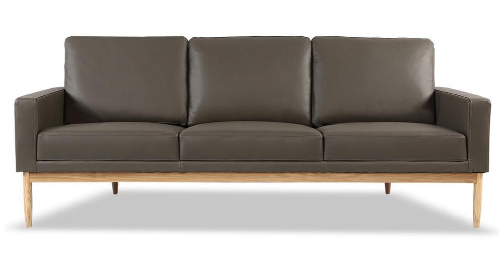 Stilt Danish Mod Sofa, Grey Aniline Leather/Ash
