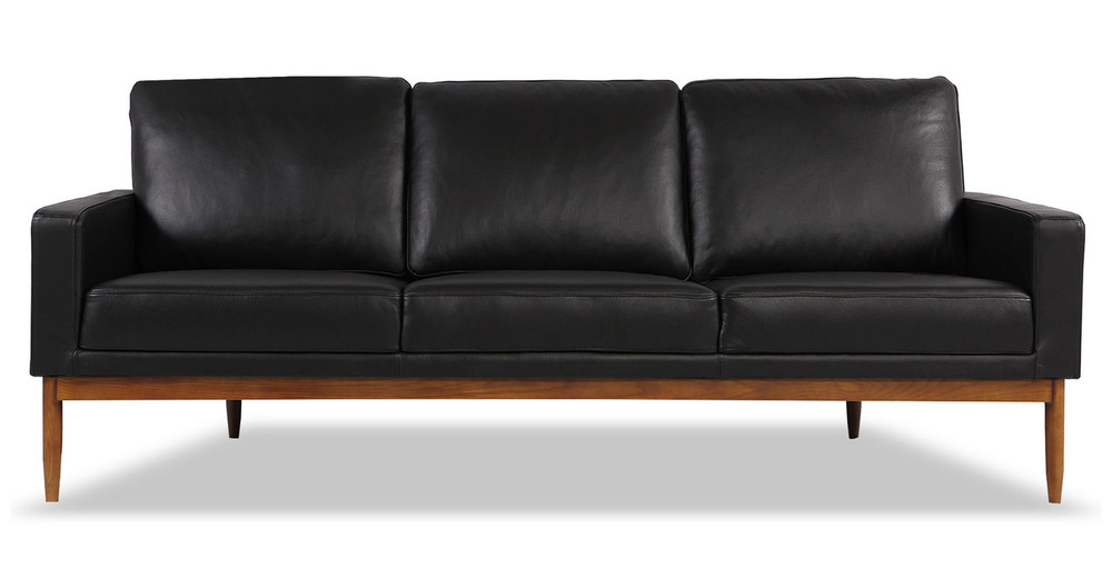 Stilt Danish Mod Sofa, Black Aniline Leather/Walnut